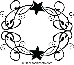 Star Tribal Border Frame Vector