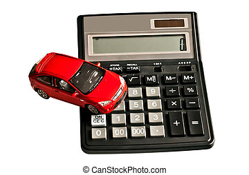 Toy car and calculator. Concept for buying, renting, insurance, fuel, service and repair cost