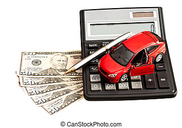 Toy car, money and calculator over white. Concept for buying, renting, insurance, fuel, service and repair costs