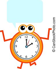 communication time - Cartoon clock man making a speech...