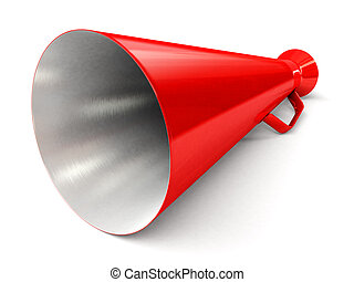 Bullhorn - Red bullhorn on white background