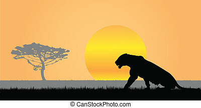 Africa. - Silhouette of a lioness.