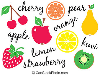 Vector fruits - Set of different fruit kinds with their...
