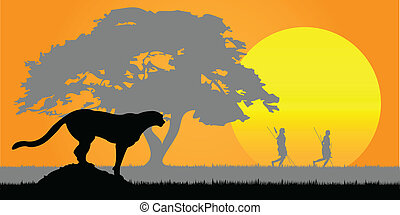 Africa. - Silhouette of a cheetah and Aficans hunters.