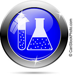 Chemistry tubes button - two white tubes on blue background