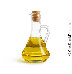 olive vegetable oil in glass pitcher isolated on white with...
