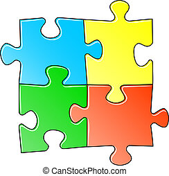 jigsaw puzzle - vector illustration of a blue jigsaw puzzle