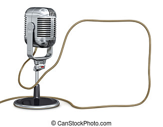 Vintage microphone with place for your text