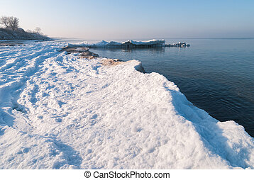 Ice-covered beach. Baltic sea. Kaliningrad region. Russia