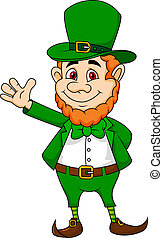 Leprechaun cartoon waving hand