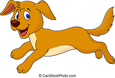 Cute dog cartoon running - Vector illustration of cute dog...