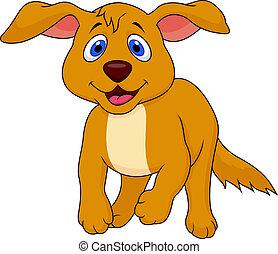 Cute dog cartoon running - Vector illustration of cute dog...