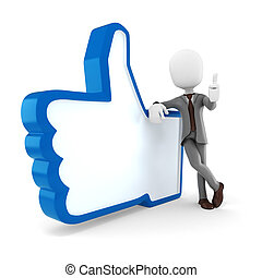3d man businessman and like symbol on white background
