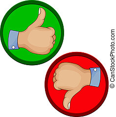 Hand gesture like unlike with thumb - Vector illustration of...