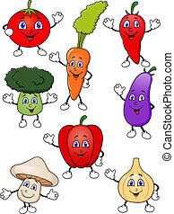 Cute cartoon vegetable collection - Vector illustraton of...