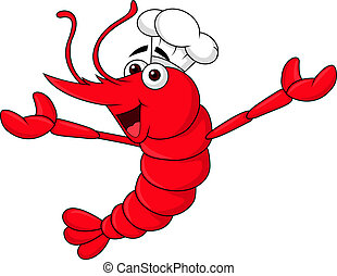 Cute shrimp cartoon chef waving - Vector illustration of...