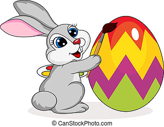 Cute rabbit painting an Easter egg - Vector illustration of...