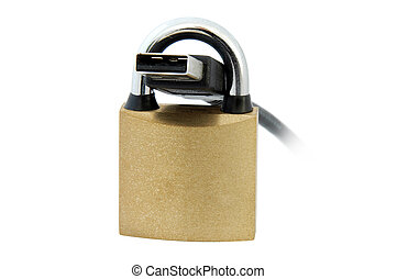 USB cable and Padlock - An isolated image of a padlock and...