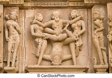 Erotic Hindu Carvings - Erotic sculptures decorating the...