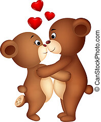 Bear couple cartoon kissing - Vector illustration of Bear...