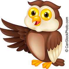 Owl cartoon waving - Vector illustration of Owl cartoon...