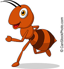 Cute ant cartoon running - Vector illustration of cute ant...