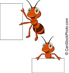 Cute ant cartoon with blank sign - Vector illustration of...