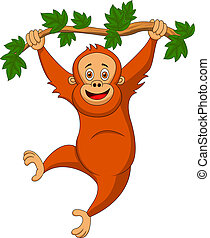 Cute orangutan cartoon hanging on a - Vector illustration of...