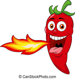 Chili Cartoon Character Breathing Fire