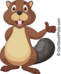 Cute beaver cartoon waving hand - Vector illustration of...