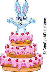 Rabbit inside the cake - birthday c - Vector illustration of...