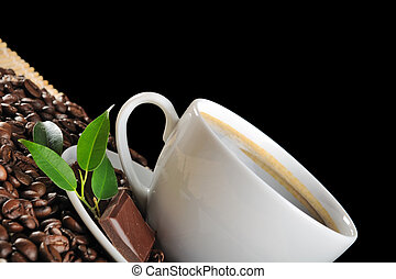 Hot coffee - hot coffee on the black background