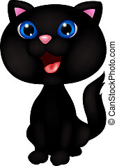 Cute black cat cartoon - Vector illustration of cute black...