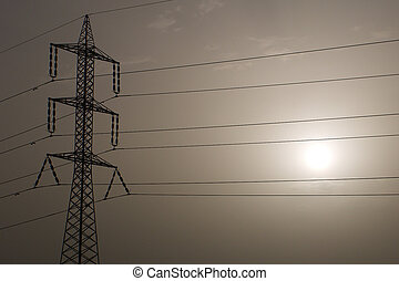 Pylon and Sun - Electricity Line on a Hot Day