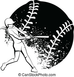 Girl Softball Batter - Black and White vector illustration...