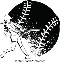 niña, sofbol, bateador