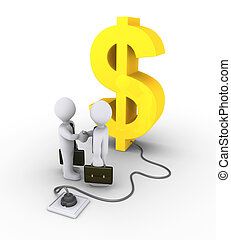 Dollar symbol plugged in and business agreement - 3d dollar...