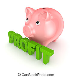 Profit concept.Isolated on white background.3d rendered...
