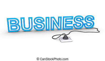 Business word is plugged in - 3d business word is plugged in