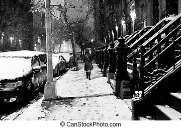 Anonymous Woman in Snow Storm at Harlem Manhattan New-York -...