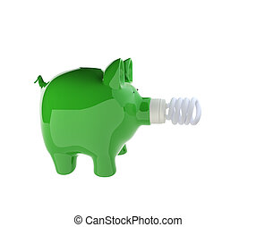 piggy bank with energy efficient light bulb - 3d rendering...