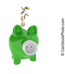 piggy bank with Electric Plug and euro coins - 3d rendering...