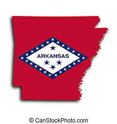 Map of Arkansas, filled with the state flag