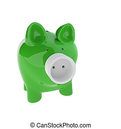 piggy bank with Electric Plug - 3d rendering of Piggy with...