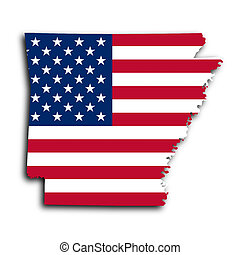 Map of Arkansas, filled with the national flag