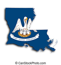 Map of Louisiana, filled with the state flag