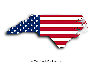 Map of North Carolina, filled with the national flag