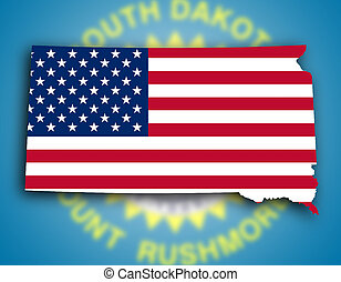 Map of South Dakota, filled with the national flag