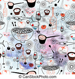 texture of fine food and drink - Seamless graphic pattern of...