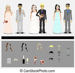Set of grooms and brides